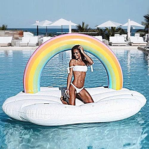 Zwemmen Ring Giant Outdoor Luie Regenboog Zwembad Vlotten Opblaasbaar Speelgoed, Zomer Strand Zwembad Opblaasbare Floatie Lounge Zwembad Ligstoelen LKWK
