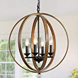 GEPOW Faux Wood Chandeliers for Dining Room Farmhouse Orb Hanging Light Fixture for Kitchen Island, Foyer, Bedroom and Living Room (20 Inches, 4 Light)