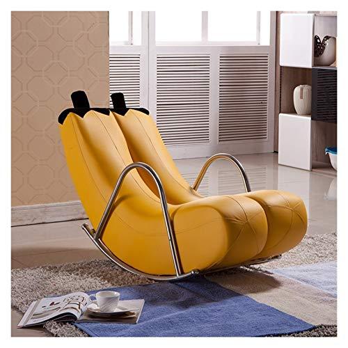 LUYIYI Leder Banana Schaukelstuhl Recliner Faules Sofa Stuhl Europäischen Stil Modern 120x48x50cm, Multi-Color Optional (Color : Yellow, Size : 120x48x50CM)