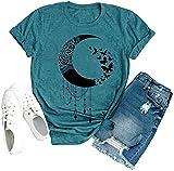 Moon Butterfly Shirt Women Cute Graphic Nature Top Wildflower Print Short Sleeve Tee Blue