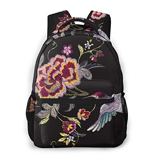 Laptop Rucksack Schulrucksack G Orientalischer Blumenvogel, 14 Zoll Reise Daypack Wasserdicht für Arbeit Business Schule Männer Frauen