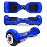 DOC Newest Design Generation Electric Hoverboard Dual Motors Two Wheels Smart self Balancing Scooter with Built in Speaker LED Lights for Gift (Solid Blue)