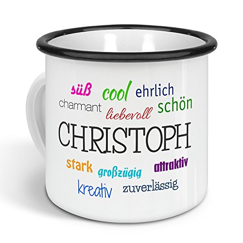 printplanet - Emaille-Tasse mit Namen Christoph - Metallbecher mit Design Positive Eigenschaften - Nostalgie-Becher, Camping-Tasse, Blechtasse, Farbe Schwarz, 300ml