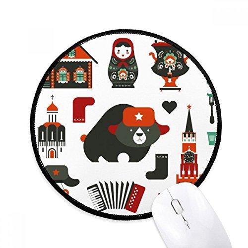 Bär Wodka Akkordeon Puppe Russland Runde rutschfeste Mousepads schwarz genähte Kanten Game Office Geschenk