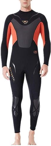 DMMW Combinaison Homme Combinaison à Manches Longues pour Hommes, 3 mm, col Ajustable avec Fermeture à l'arrière, 3 Couleurs pour la plongée (Couleur   Orange, Taille   XL)