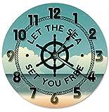 Reloj de pared de 30,48 cm Let The Sea Set You Free Clock para sala de estar, reloj de pared grande de 30,48 cm, reloj de decoración para el hogar 2193