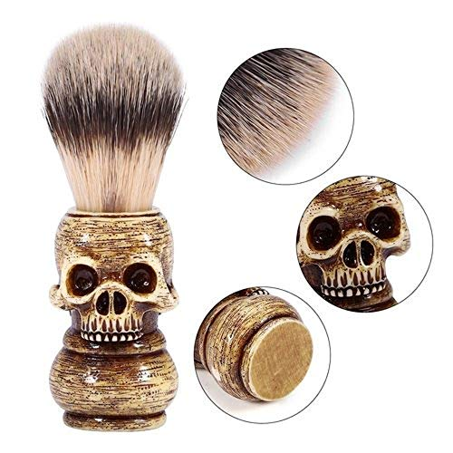 100% Pure Badger Shaving Brush-Wooden Skull Handle- Engineered for The Best Shave of Your Life