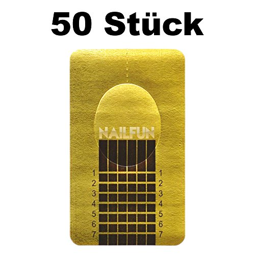 1 Packung (50 Stück) selbstklebende Square Goldschablonen Modellier Schablonen für die künstliche Fingernagel-Modellage