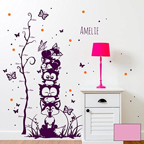 ilka parey wandtattoo-welt Sticker Mural hiboux Renards Papillons Points Toise pour Enfant Bicolore m1732b