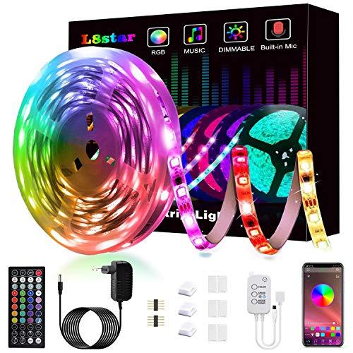 Ruban à Led, L8star Led Ruban 5m Intelligent Bande Lumineuse Led 5050 RGB SMD Multicolore Bande LED Lumineuse avec Télécommande changement