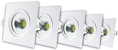 KIT com 5 Spot LED 5W, Quadrado Embutir Bivolt 6500k Branco Frio, Avant