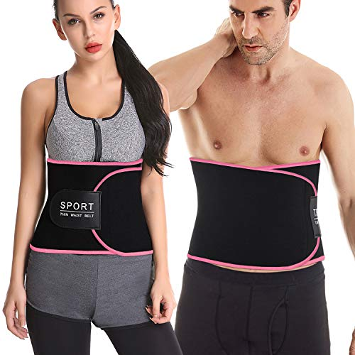 Waist Trimmer for Women and Men - Neoprene Waist Trainer Slimming Belt for Weight Loss with Sauna Effect - Sweat AB Belt Support for Low Back and Lumbar