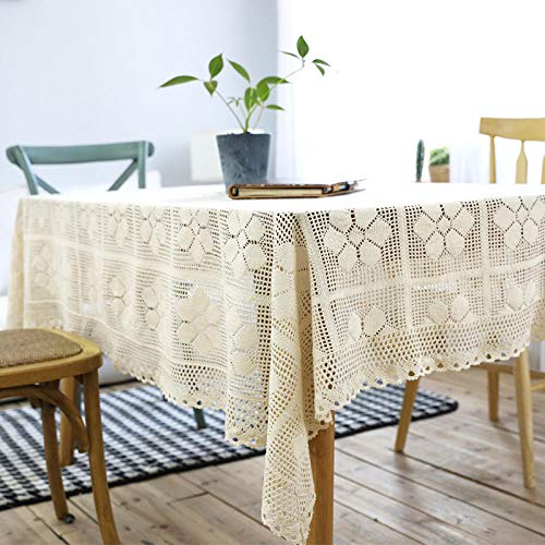 YuHengJin Mantel Mesa Rectangular Decorativo Crochet Hueco Simple Antimanchas Manteles Cocina Beige 100 × 140cm