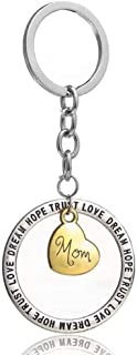"""Keychain for Dad & Mom Gift Key Ring""""Trust Love Dream Hope"""" Mixed Metal Heart Charm"""