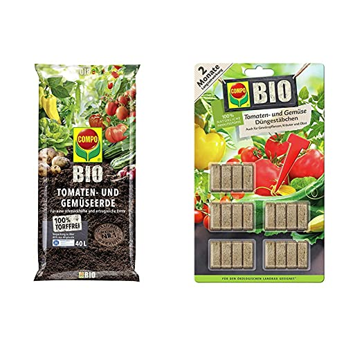 COMPO Bio Tomaten- und Gemüseerde für alle Garten- und Zierpflanzen, Sträucher, Büsche und Gehölze, Torffrei, Kultursubstrat, 40 Liter, Braun & Bio Tomaten, 20 Stück