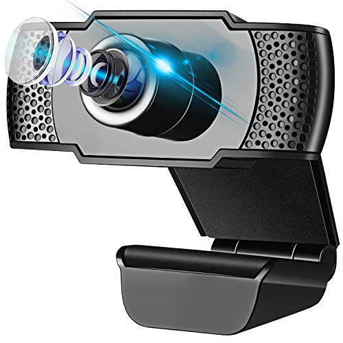 IVSO Webcam with Microphone, HD 1080P USB Camera Plug and Play, Computer Camera for PC Laptop Desktop Video Calling Recording Conferencing Zoom