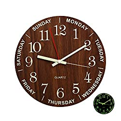 12 Night Light Function Wooden Round Wall Clock Vintage Rustic Country Style for Kitchen Bedroom Office Home Large Numbers Battery Operated Clocks