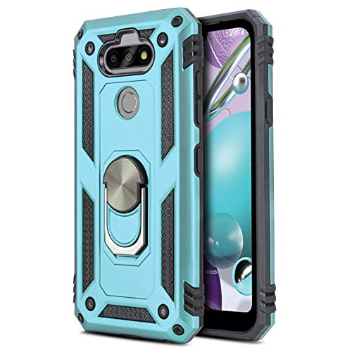 CasemartUSA Phone Case for [LG Tribute Monarch (Boost Mobile)], [Ring Series][Turquoise] Full Rotating Metal Ring Shockproof Cover with Built-in Kickstand for LG Tribute Monarch (Boost Mobile)
