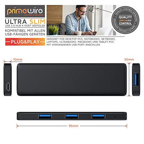 CSL - USB 3.0 Hub 4-Port Verteiler Slim Design - Datenhub für Notebook Laptop Ultrabook Tablet PC MacBook - Hot-Plug - Bus-Powered - Hot Swap - abwärtskompatibel