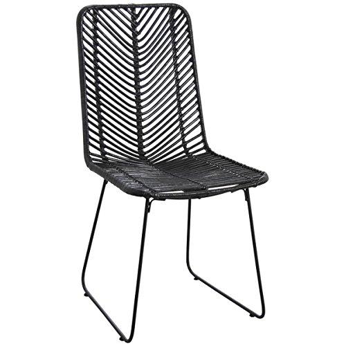 PEGANE Chaise en rotin Noir et métal Antique - Dim : 46 x 58 x 90 x H 44 cm