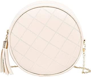 chinatera Women Girls Tassel Circle Shoulder Crossbody Bags Zipper Round PU Leather Chain Messenger Bags