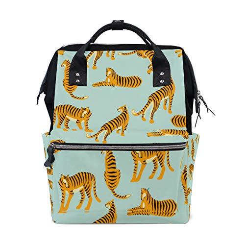 Tiger Leopard Muster Mode Accessary Große Kapazität Windel Taschen Mummy Rucksack Multi Funktionen Wickeltasche Tasche Handtasche Für Kinder Babypflege Reise Täglichen Frauen
