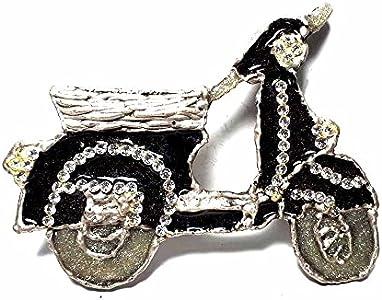 Artesanal hebilla para cinturón 4cm, Moto Motocicleta Vespa esmalte negro, color plateado envejecido, hebillas metal o piedras o Brillantes o esmaltes o Vetri Murrine Murano, piu '1Llavero CC1