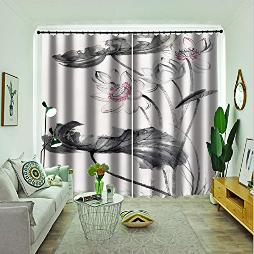 Oukeep 3D Digital Printing Fashion Home Curtain Thickened Double-Layer Blackout Curtain Suitable For Shading Cloth For Shopping Malls, Hotels And Bedrooms 2 Pieces