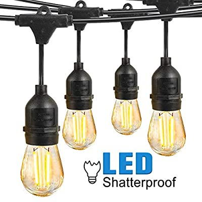 Led Outdoor String Light Waterproof Shatterproof, Eicaus 48 Ft Commercial Grade Weatherproof Dimmable Lights Strand with 2W Plastic Vintage Edison Bulbs, Decorative Lighting for Patio Bistro Garden