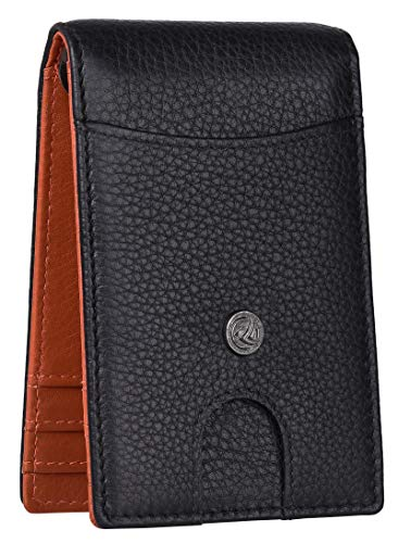 Antonio Valeria Felix Black/Papaya RFID Blocking Slim Minimalist, Premium Money Clip Leather Wallet for Men