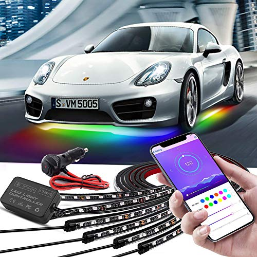Car Underglow Lights, Bluetooth Dream Color Chasing Strip Lights Kit, 6 PCS Waterproof Exterior Car Lights with APP Control , 12V 300 LEDs Underbody Lights for All Cars