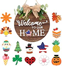 Wooden Seasonal Interchangeable Welcome to Our Home Round Wood Hanging Door Sign for Front Door Decor with 14 Seasonal Ornament Housewarming Gifts Christmas Easter