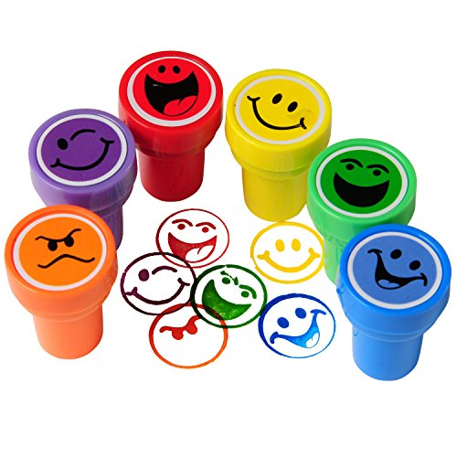 Happy Face Ink Stampers - 6 Pieces