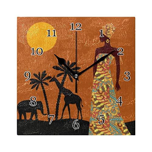 Reloj de Pared de Mujer Africana con Palmera Tropical, Reloj de Pintura de Arte Cuadrado silencioso sin tictac para decoración de la Escuela de la Oficina en casa