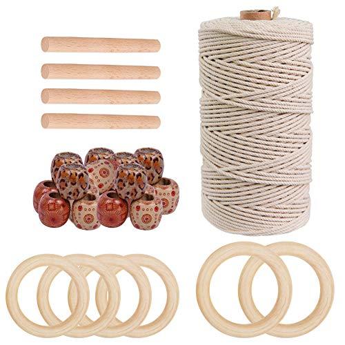 Cuerda de macramé de algodón de 100 m, 3 mm, con 50 cuentas de madera, 6 anillos de madera, 4 varillas de madera, kit de manualidades para colgar en la pared, colgadores de plantas, tapiz hecho a mano