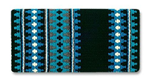 Mayatex Catalina Saddle Blanket, Black/Show Turquoise/Soft Turquoise/Cream, 38 x 34-Inch