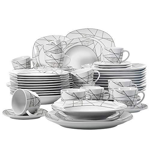VEWEET, Tafelservice Serie \'Serena\' aus Porzellan 60-teilig| Geschirrset beinhaltet Kaffeetassen 175 ml, Untertasse, Dessertteller, Speiseteller und Suppenteller| Geschirrservice für 12 Personen