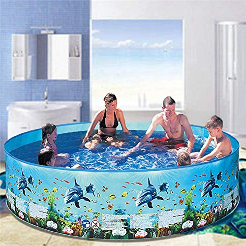 YANGHAO-Bañera grande- Piscina de la piscina de la familia de verano, piscina rápida redonda, piscina, piscina de agua al aire libre para niños adultos, pesca portátil juego de pesca azul 122x25cm / c