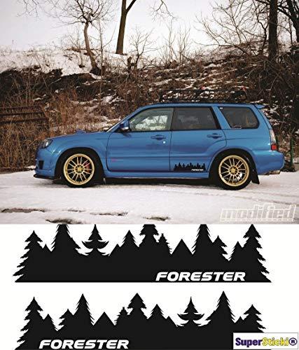 SUPERSTICKI 2X Forester Subaru Wald Bäume 40cm Aufkleber Sticker Decal aus Hochleistungsfolie Autoaufkleber Tuningaufkleber für alle glatten Flächen UV und Waschanlagenfest Tuning Profi Qualität