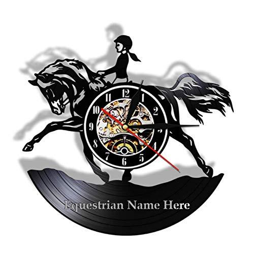 Wanduhr aus Vinyl Weibliche Pferdesport Wandkunst Wohnkultur Hunter Jumper Zaun Mädchen Schallplatte Uhr Pferdesport Reiter Pferd Geschenk 12 Zoll Xi308