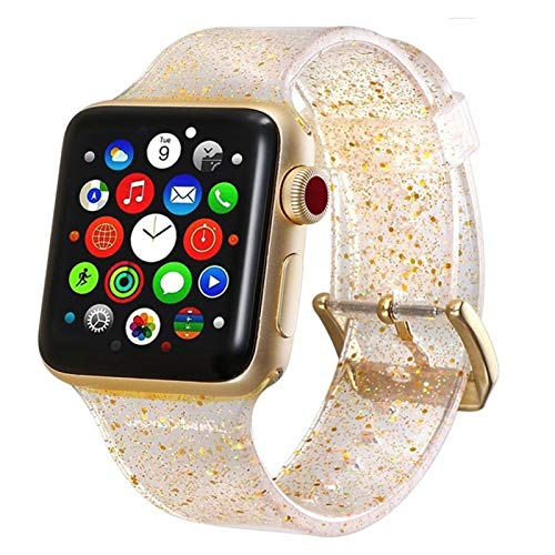 LRJBFC Silicone Watch Band para Apple Watch Strap 6 SE 5 4 3 Banda 42mm 38mm 44mm 40 mm Banda Pulsera Reloj Accesorios (Band Color : Gold, Band Width : For 42mm 44mm)