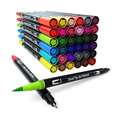 Dual Brush Pen Set, 36 Farben, Pinselstifte, Filzstifte für Kinder Bullet Journal Handlettering Aquarell Mandala Kalligraphie Manga Erwachsene Doppelfasermaler Fasermaler[1-2 mm] und Fineliner[0,4 mm]