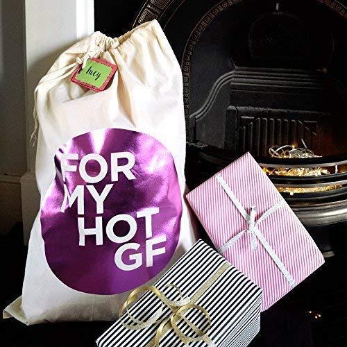 Pushka Home Rose métallique 'pour My Hot GF' Petite Amie pour Elle de Père Noël Chaussette Sac
