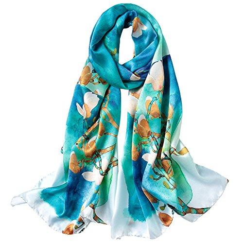 STORY OF SHANGHAI Bufandas de 100% Seda Flores Pañuelo de Morera Grande Mujer Chal Wraps Estolas Madre y Regalos Alta 170cm*55cm,Magnolia Verde
