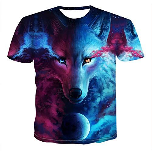 SSBZYES Camiseta para Hombre Camiseta De Manga Corta para Hombre Camiseta Estampada para Hombre Camiseta De Manga Corta con Estampado Digital De Wing Wolf Camiseta para con Estampado De Lobo Camiseta