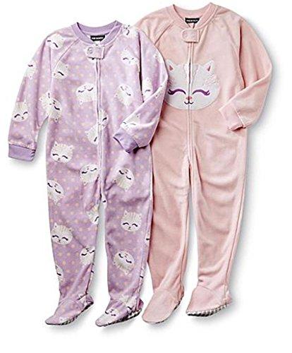 Schlafanzug Fleece 2-er Pack Einteiler mit Füßen Pyjama Winter Nachtwäsche warm, Rosa Lila, 98 104