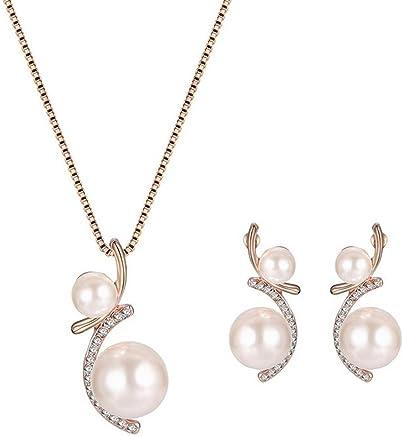 SODIAL Collar Pendientes Diamante Perla Elegante Bisuteria Conjunto de Cristal Pendiente Collar + Pendientes