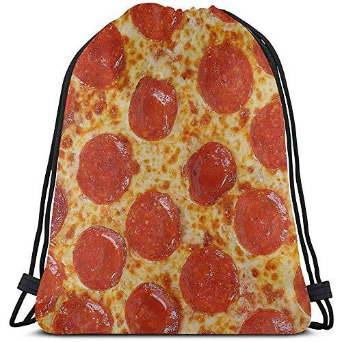Yuanmeiju Saco de Gimnasia con cordón,Bolsa de cordón para Dibujar,Fresh Italian Classic Original Pepperoni Pizza Bac Summer String Pull Bag Sport String Pull Bag Makeup Bags Sport