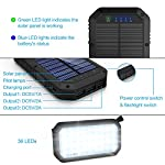 Solar Charger, 25000mAh Battery Solar Power Bank Portable Panel Charger with 36 LEDs and 3 USB Output Ports External Backup Battery for Camping Outdoor for iOS Android (Black) 18 【25000mAh Ultra High Capacity Solar Charger】The solar panel charger built-in 25000mAh Li-polymer battery, it's enough to charge an iPhone XS for 7.4 times, a Galaxy S9 Plus for 5.7 times, an iPad Pro for 1.6 times! 【Two Charging Methods】The Solar charger powerd by 5V/2A adapter(Not included) or solar. The blue indicator light is on when charging with the adapter, and the green indicator light is on when charging with solar panel. 【3-USB Ports for Charger】The solar charging powerbank has three USB ports that can charge three devices at the same time, which is convenient for yourself and your friends.