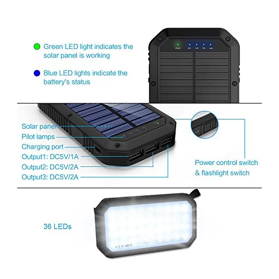 Solar Charger, 25000mAh Battery Solar Power Bank Portable Panel Charger with 36 LEDs and 3 USB Output Ports External Backup Battery for Camping Outdoor for iOS Android (Black) 8 【25000mAh Ultra High Capacity Solar Charger】The solar panel charger built-in 25000mAh Li-polymer battery, it's enough to charge an iPhone XS for 7.4 times, a Galaxy S9 Plus for 5.7 times, an iPad Pro for 1.6 times! 【Two Charging Methods】The Solar charger powerd by 5V/2A adapter(Not included) or solar. The blue indicator light is on when charging with the adapter, and the green indicator light is on when charging with solar panel. 【3-USB Ports for Charger】The solar charging powerbank has three USB ports that can charge three devices at the same time, which is convenient for yourself and your friends.